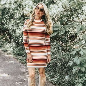 Forever 21 Long Sleeve Striped Bodycon Dress
